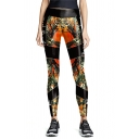 Yoga Girls Mid Waist Letter Print Forest Pattern Color Block Ankle Stretchy Slim Fit Graphic Leggings