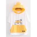 Girls Lovely Short Sleeve Drawstring Chinese Letter Cat Graphic Color Block Loose Fit Ears Hooded T-Shirt