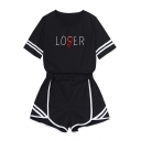 Popular Girls Short Sleeve Crew Neck Letter LOSER LOVER Varsity Stripe Relaxed Tee Striped Relaxed Short Two Piece Sets