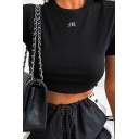 Girls' Summer Basic Short Sleeve Crew Neck Letter M Print Slim Fit Crop T-Shirt in Black