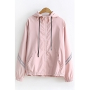 Leisure Street Girls Long Sleeve Hooded Drawstring Zipper Front Striped Sun Protection Loose Fit Cardigan