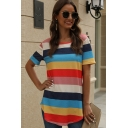 Chic Fashion Girls Short Sleeve Round Neck Stripe Pattern Curved Hem Relaxed Fit T-Shirt