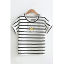 Chic Womens Short Sleeve Crew Neck Letter BIG-BANG Crown Graphic Striped Fitted T-Shirt