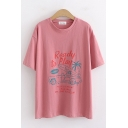 Leisure Womens Short Sleeve Crew Neck Letter READY TO PLAY Cartoon Print Loose Fit Graphic T-Shirt
