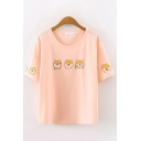 Basic Summer Short Sleeve Round Neck Dog Printed Loose Fit Tee Top