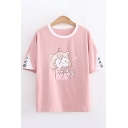 Popular Lovely Girls Short Sleeve Round Neck Cartoon Chinese Letter Graphic Contrasted Relaxed Fit T-Shirt
