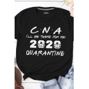 Basic Ladies Rolled Short Sleeve Crew Neck Letter CNA 2020 Print Fitted Tee Top