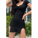 Sexy Leisure Ladies Short Sleeve V-Neck Ruched Split Contrast Piped Mini Sheath Dress in Black