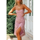 Hot Gorgeous Ladies Sleeveless Ditsy Floral Print Split Side Long A-Line Cami Dress in Purple