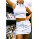 Edgy Girls Sleeveless Stand Collar Half Zip Fit Crop Top & High Rise Patched Pocket Mini Tight Skirt Two Piece Sets in White