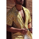 Fancy Yellow Short Sleeve Lapel Collar Button Down Ditsy Floral Pattern Relaxed Fit Shirt for Men
