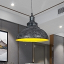 Iron Domed Hanging Lighting Farmhouse 1-Head Restaurant Suspended Pendant Lamp in Black/Bronze