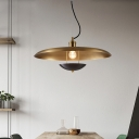 Red/Gold Finish 1 Head Pendant Lighting Vintage Metallic Flat Suspension Lamp with Adjustable Cord