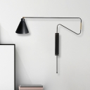 1 Light Long Curved Arm Sconce Industrial Coffee/Black/Gold Finish Metal Wall Lamp with Conical Shade