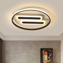 Black Ring Flushmount Modern LED Acrylic Ceiling Flush Mount with Double Linear Canopy in White/Warm Light, 16