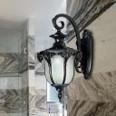 Black/Brass 1-Bulb Wall Light Fixture Farmhouse Opal Glass Acorn Shape Wall Lamp Sconce with Swirl Arm