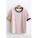 Stylish Girls Short Sleeve Round Neck Cut Out Stripe Printed Contrast Piped Relaxed T Shirt in Pink