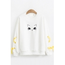 Preppy Looks Long Sleeve Crew Neck Cat Patterned Lace Up Loose Fitted Pullover Sweatshirt