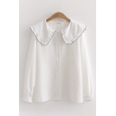 Leisure Ladies Long Sleeve Peter Pan Collar Contrast Piped Button Up Loose Fit Blouse