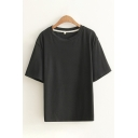 Casual Basic Short Sleeve Round Neck Solid Color Relaxed T-Shirt for Girls