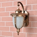 Farmhouse Acorn Wall Light Fixture 1 Bulb White Frosted Glass Sconce Lamp in Brass