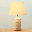 Conical Desk Light Simplicity Fabric 1 Bulb White Ceramic Base Designed Nightstand Lamps with Switch for Bedroom