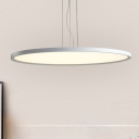 Modernist LED Suspended Lighting Fixture Chrome Circular Hanging Lamp with Acrylic Shade