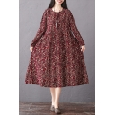 Vintage Ladies Long Sleeve Round Neck Ditsy Floral Patterned Drawstring Waist Cotton and Linen Maxi Swing Dress