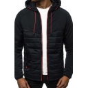 Winter Thick Casual Long Sleeve Zipper Front Drawstring Color Block Slim Fitted Jacket for Men