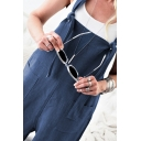 Leisure Womens Sleeveless Patched Pocket Cotton and Linen Long Plain Oversize Straight Suspender Pants