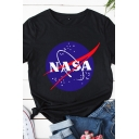 Pretty Cute Girls Roll Up Sleeve Round Neck Letter NASA Printed Color Block Relaxed T-Shirt