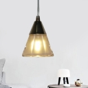 Conical Living Room Hanging Pendant Light Clear Glass 1-Light Modernism Ceiling Lamp in Gold