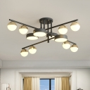 Grey Spherical Semi Flush Modernism 12 Lights Acrylic Close to Ceiling Lamp with Stacked Design