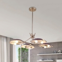 Metal Domed Ceiling Suspension Lamp Minimal 8 Bulbs Purple Finish Chandelier Lighting Fixture
