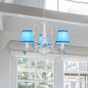 Blue Cone Suspended Lighting Fixture Korean Flower Fabric 3/6/8-Bulb Bedroom Chandelier Light with Crystal Drop