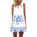 Ladies Ethnic Sleeveless Round Neck Floral Patterned Mini A-Line Tank Dress in White