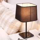 Modernism 1-Bulb Table Lamp Black Trapezoid Night Lighting with Fabric Shade for Bedroom