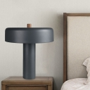 Contemporary LED Night Lighting Grey Round Table Lamp with Metal Shade for Living Room