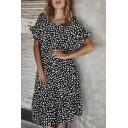 Popular Short Sleeve Round Neck Ruffled Trim Ditsy Floral Printed Long Pleated Swing Dress