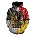 Tribal Style Mens Long Sleeve Drawstring Wolf Floral 3D Printed Colorblocked Loose Fit Hoodie in Gold