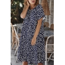 Fancy Fashion Womens Bell Sleeve Round Neck Polka Dot Printed Ruffled Trim Midi Pleated Swing Dress