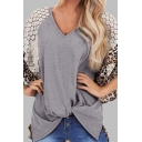 Casual Womens Bell Sleeve V-Neck Leopard Printed Semi-Sheer Lace Patched Twist Front Loose T Shirt