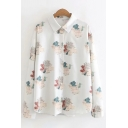 Trendy Womens Long Sleeve Lapel Collar Button Down Allover Flower Printed Relaxed Fit Shirt in White