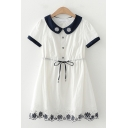 Preppy Girls White Short Sleeve Lapel Collar Button Up Drawstring Waist Floral Embroidered Contrast Piped Short A-Line Dress