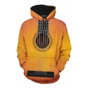 Popular Chic Guys Yellow Long Sleeve Drawstring 3D Guitar Pattern Pouch Pocket Loose Hoodie