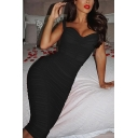 Hot Ladies Sleeveless Ruched Solid Color Mini Tight Cami Dress in Black