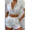 Fashionable Womens Short Sleeve Hooded Zip Up Sequins Fit Crop Top & Elastic Waist Relaxed Shorts Set in White