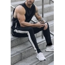 Cool Mens Drawstring Waist Contrasted Cuffed Ankle Length Relaxed Fit Sweatpants