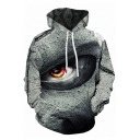 Horrific Chic Long Sleeve Drawstring Eye 3D Print Pouch Pocket Relaxed Fit Hoodie in Gray