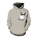 Funny Guys Long Sleeve Drawstring Cartoon Cat Pattern Relaxed Fit Gray Hoodie with Pocket